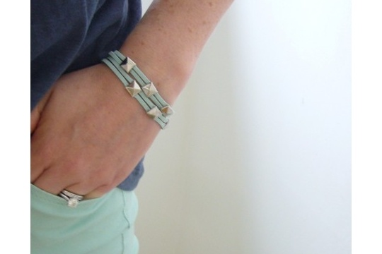 Suede cord and studs bracelet