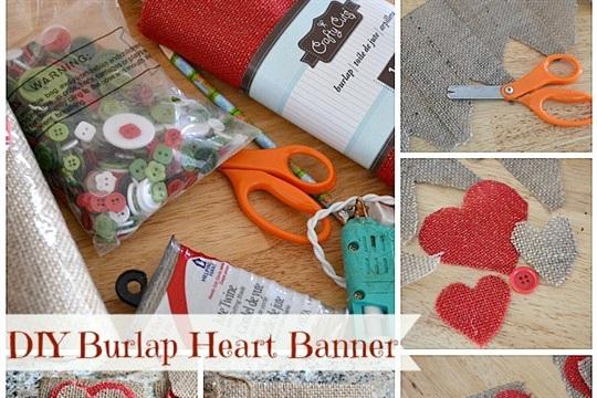 DIY Primitive Burlap Hearts with Buttons Banner Tutorial