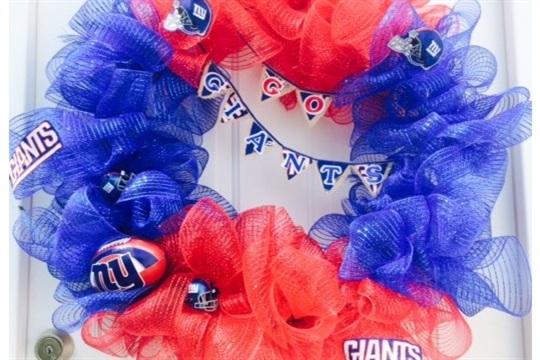 Football Themed Wreath NY Giants