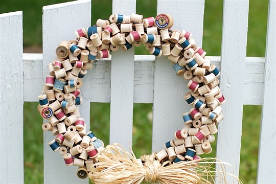 Patriotic Thread Spool Wreath