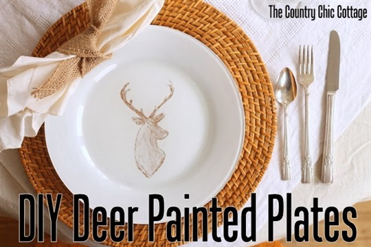 DIY Deer Painted Plates * THE COUNTRY CHIC COTTAGE (DIY, Home Decor, Crafts, Farmhouse)