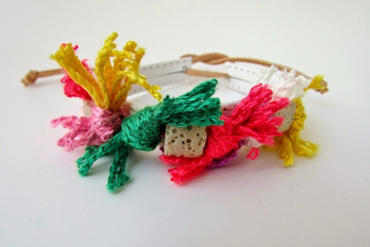Yarn, lava and leather bracelet