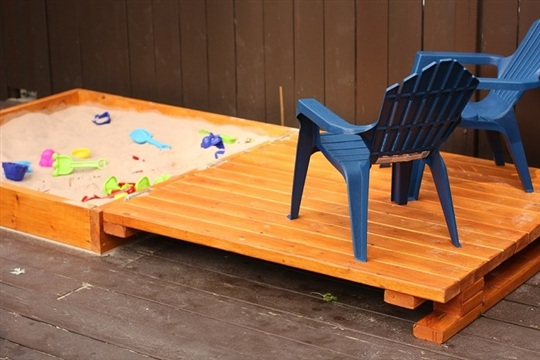 Wooden Sandbox with Hinged Top