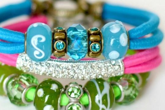 Beaded neon bungee bracelets
