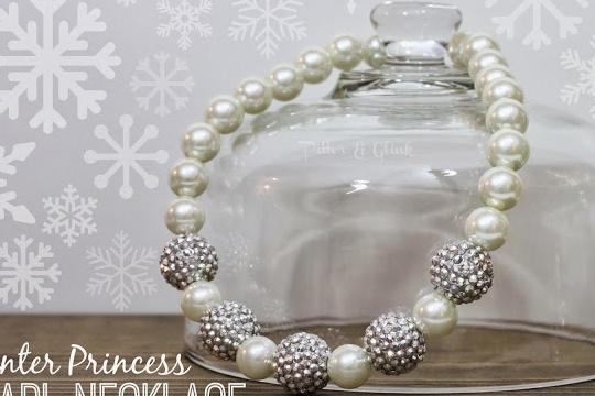 DIY winter princess pearl necklace
