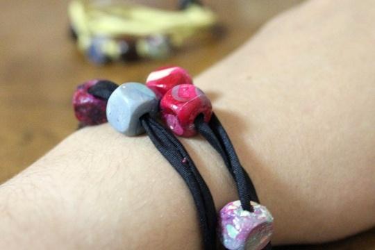DIY wrap bracelet with faux gemstones