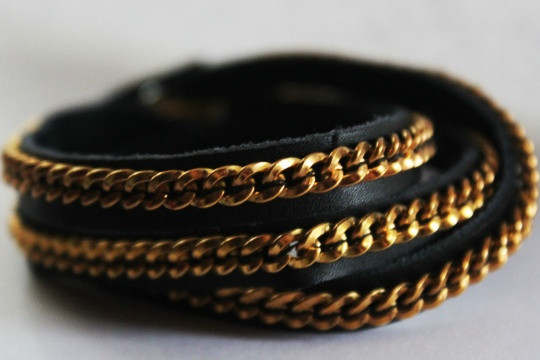 DIY chain and leather wrap bracelet