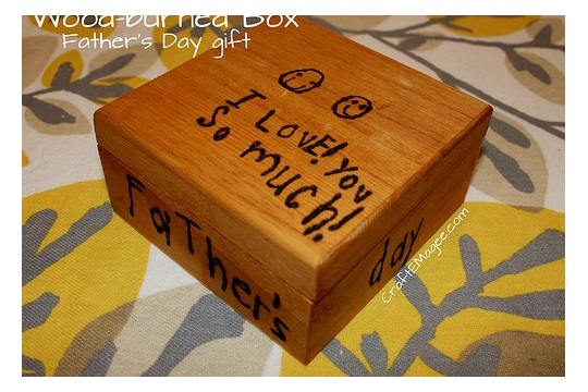 Father's Day Gift Wood burned Box