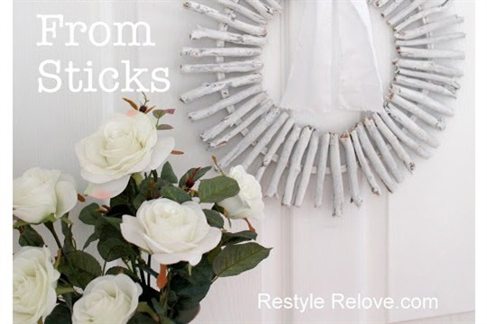 White Wreath Made From Sticks