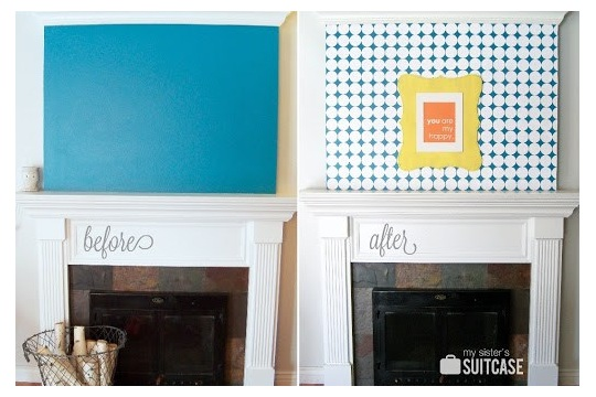 100% Paper Mantel Challenge {How to Stencil a Wall with Paper} My Sister's Suitcase Packed with Creativity