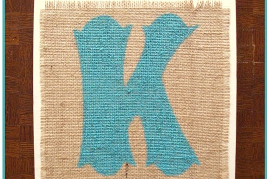 DIY Monogram Wall Art with burlap, paint, and wood