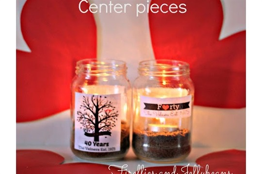 Easy personalized Jar Candle Centerpieces