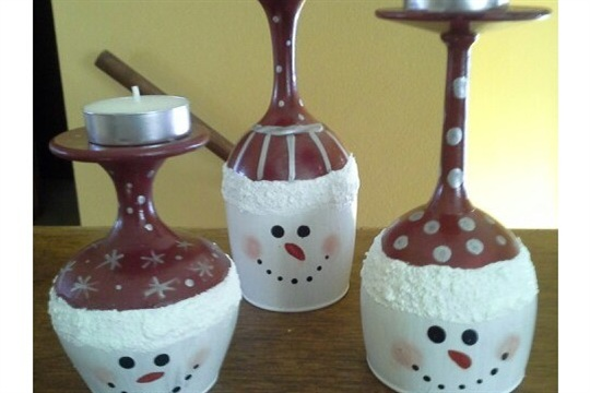Snowmen Wine Glass Candle Holders!