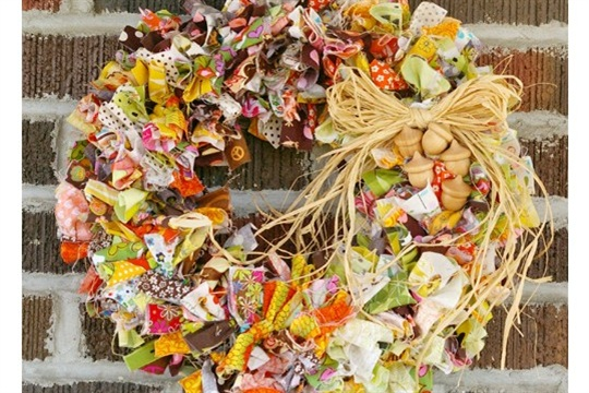 Thanksgiving Wreath Scrap Fabric Buster