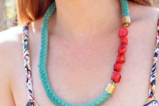 DIY beaded rope necklace