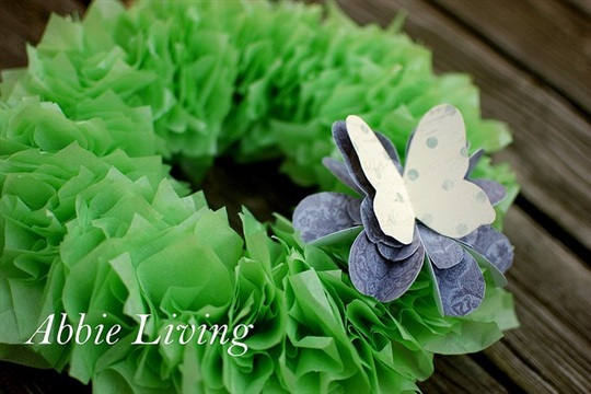 Spring Tissue Paper Wreath Tutorial