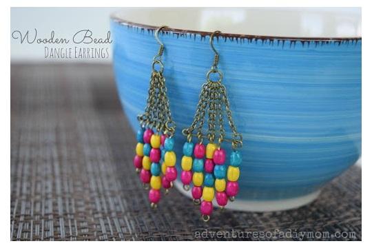 Wooden Bead Dangle Earrings