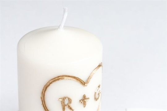 DIY Candle Carved with Initials
