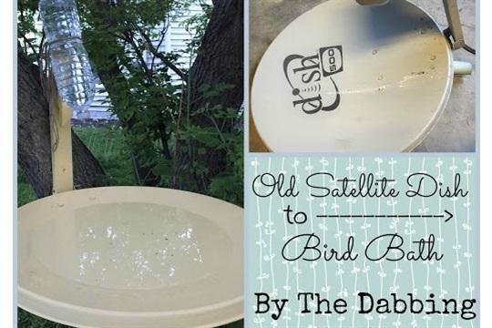 DIY Sunday Satellite Dish Bird Bath