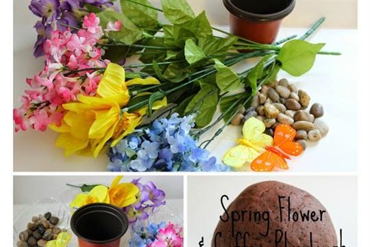 Spring Flower & Coffee Playdough Invitation