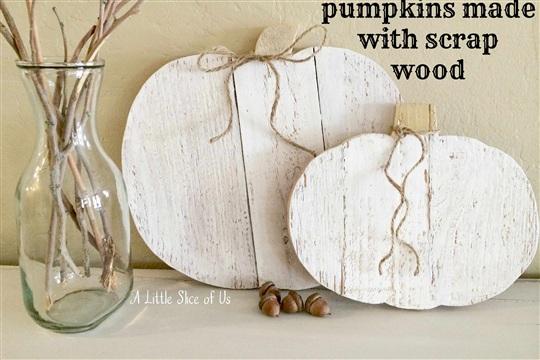 Rustic pumpkins made with scrap wood