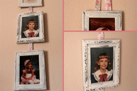 Shabby Ribbon Hung Frames Tutorial