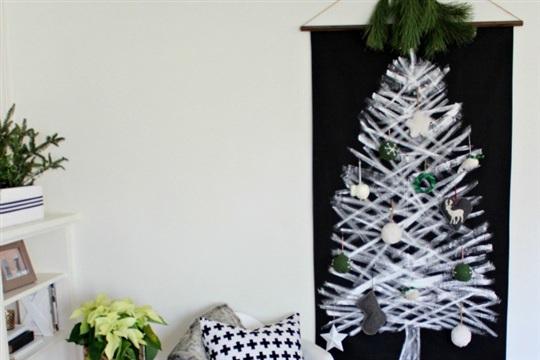 White and Black Christmas Tree Wall Hanging
