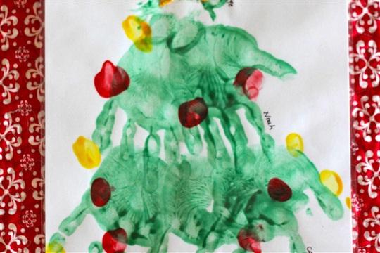 Handprint (and Paw Print) Christmas Tree I Can Teach My Child!