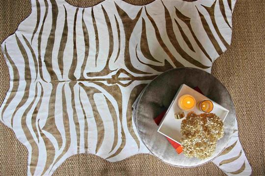 DIY Gold Zebra Print Rug