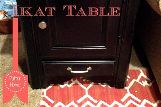 DIY Painted Chevron Ikat End Table