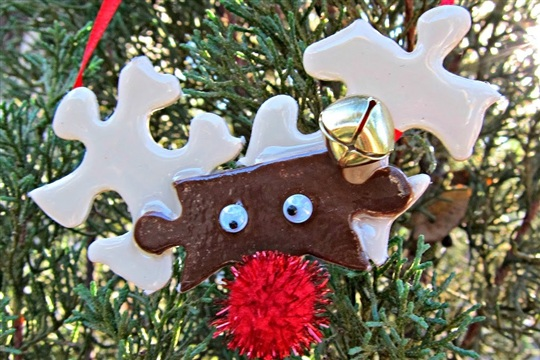 Reindeer Puzzle Piece Ornament