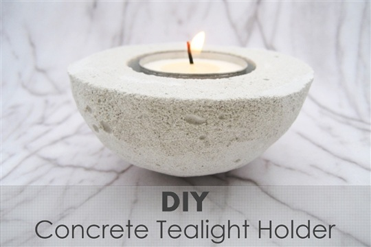 DIY  Concrete Tealight Holder from an Avocado Shell