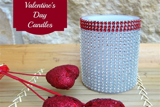 Valentines Day Crafts: Blinged Out Candles