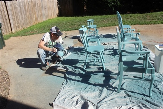 Painting and Re upholstering our Mismatched Kitchen Chairs.....at long last!