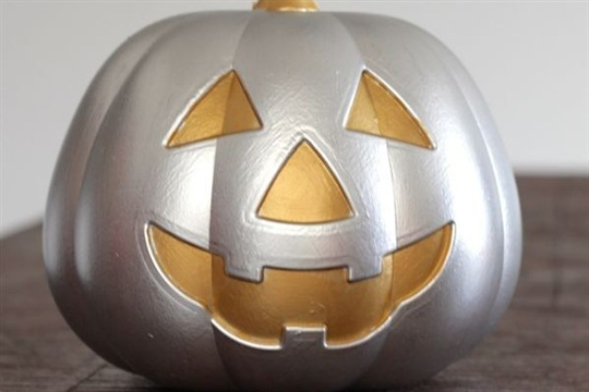 Metallic Jack Lantern from a Dollar Store Pumpkin