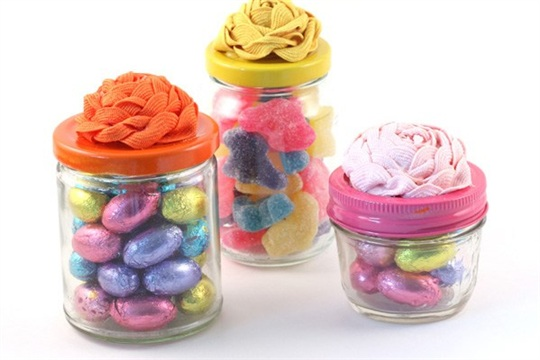 DIY spring rosette candy jars for Easter The Sweet Escape Creative DIY Blog