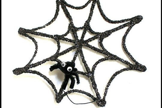 Halloween Crafts for Kids Glitter Spider Web and Spider