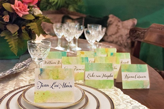 DIY Watercolor Wash Place Cards