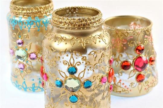 Bejeweled Jar Lantern DIY