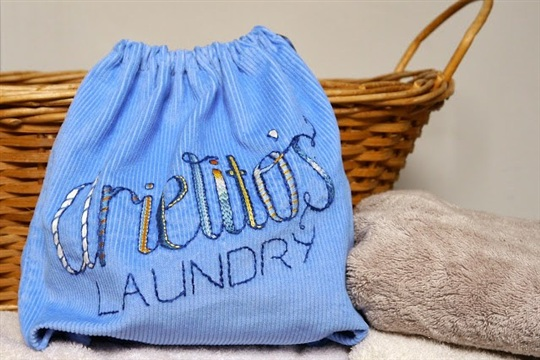 CUT.SEW.STITCH Laundry bag.... with embroidered hand lettering
