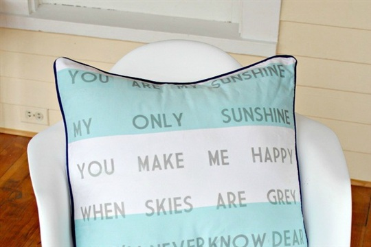You Are My Sunshine Pillow {Anthro Knock Off #6} View From The FridgeView From The Fridge