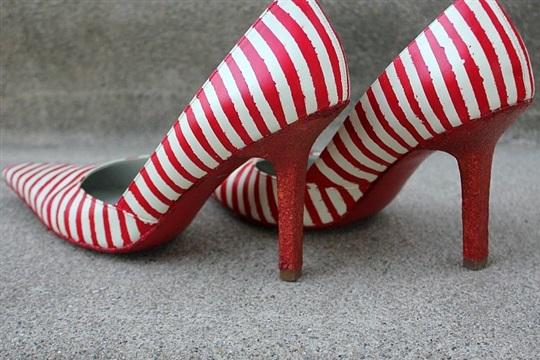 DIY Striped Glitter Heels
