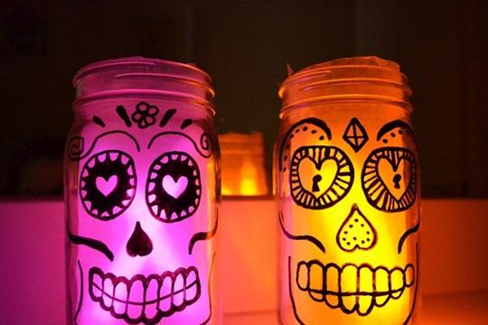 Glowing Sugar Skull Mason Jar Lanterns