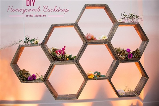 DIY Honeycomb Backdrop with Shelves