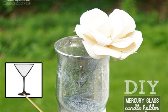 Dollar Store Craft DIY Mercury Glass Votive Holder From Martini Glass