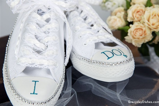 DIY Bride Sneakers Craft with Bling for her Wedding