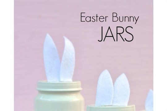 Painted Easter Bunny Jars
