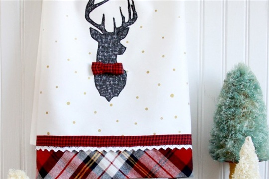 Christmas Deer Dish Towel