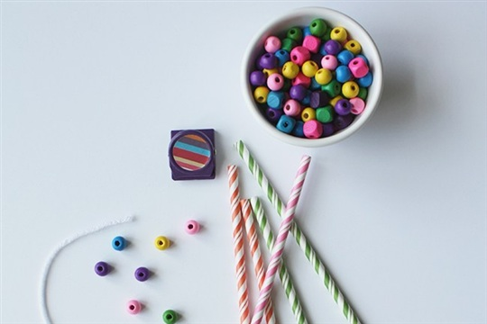 DIY Striped Straw Necklaces
