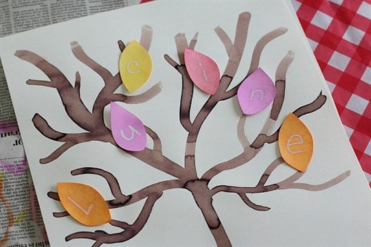 Fall Crafts for Kids Mystery Letter Fall Tree